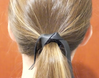 Black Leather hair tie, leather hair band, leather hair wrap, leather ponytail holder, leather hair holder, hair accessories - BLACK