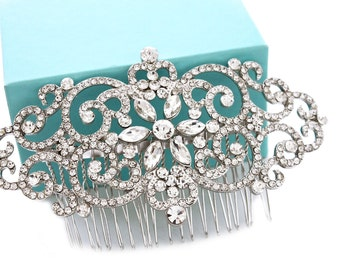 Bridal hair comb, Art Deco, Wedding hair comb, Bridal headpiece, Crystal hair comb, Wedding hair accessories, Rhinestone hair comb 15213