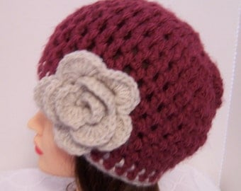 Burgundy Hat - crocheted flapper hat
