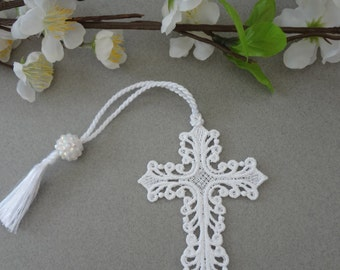 Free Standing Lace (FSL) Cross Bookmark with tassel and bead.