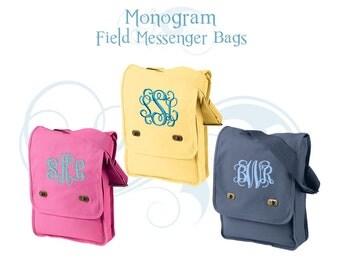 Monogram Messenger Bag, Monogrammed Crossbody Bag, Messenger Bag, Personalized Messenger Bag, Canvas Messenger Bag, Field Bag - 8 Colors!