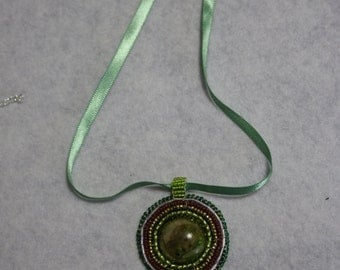 Green brown and gold polymer clay cabochon bead embroidered necklace