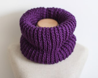 Purple infinity scarf, chunky knit cowl, vegan clothing, circle scarf, tube scarf, knitted, crocheted, ready to ship, hypo allergenic