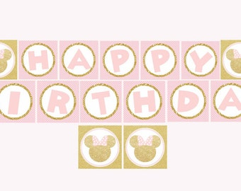 Minnie Mouse pink and gold Banner, Happy Birthday Banner, Minnie Mouse Birthday, Pink and Gold, Digital File.