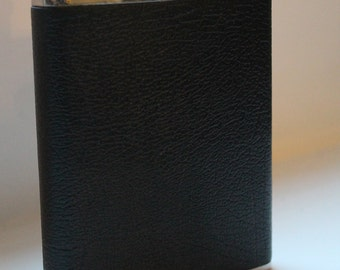 Vintage Stainless Steel and Leather Effect 6oz. Hip Flask circa 1960/70s