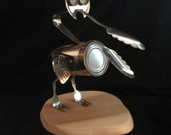 Original Art - Upcycled Pelican Bird Sculpture, Recycled Trash Art (Signed by Artist; Rob Obvious)