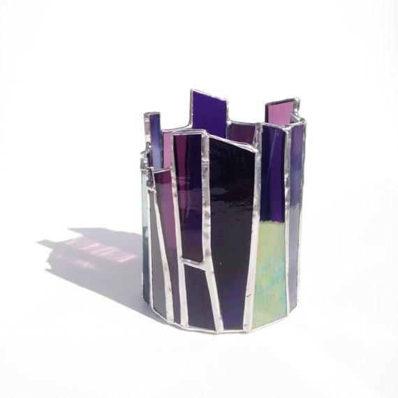 Photophore en verre violet bougeoir en vitrail tiffany for Porte bougie en verre