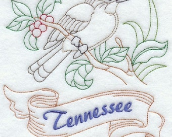 Tennessee Mockingbird Embroidered Tea Towel, Tennessee Mockingbird Embroidered Flour Sack Towel, Tennessee Towel, Mockingbird Towel