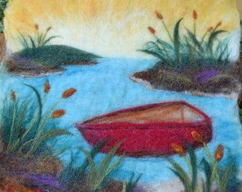 felted landscape - red skiff wet felted picture