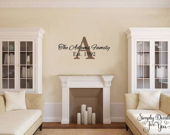 Family Name Decal, Personalized Family Name Wall Decal, Monogram Family Name Wall Decal, Vinyl Family Wall Decal, Vinyl Monogram Wall Decal