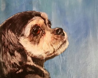 Customized, Personalized Dog Portrait Paintings, Acyrlic on Canvas