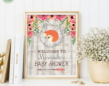 BABY SHOWER Welcome Sign. Woodland Baby Shower Printable. Floral Baby Fox Printable Art. Photo Booth Props. Baby Girl Shower Decoration FOX1