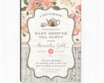 Baby Shower Tea Party Invitation. Rustic Vintage Flower Invite. PRINTABLE. High Tea, A Baby is Brewing Invitation. Floral Baby girl. TEA1