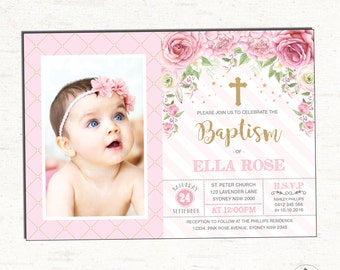 Girl Baptism Invitation. Pink Gold Christening Printable Invitation. Vintage Rose Floral Invite. Cottage Chic First Birthday Naming Day  RO3