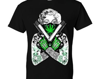 Marilyn Monroe Weed Guns Tattoos
