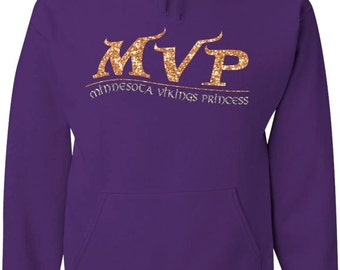 Purple Hood Sweatshirt with Gold and silver glitter MVP design / Minnesota Vikings Princess / Minnesota sweatshirt