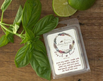 Basil and Lime Soy Wax Melts - Wax Melts with Essential Oils  - Wax Tarts - Soy Tarts - Home Fragrance - Aromatherapy - Natural Soy