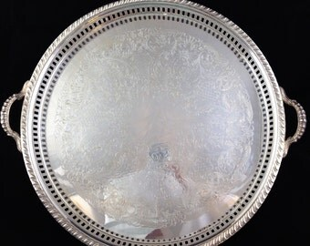 Vintage Silver Plate Footed Gallery Tray with Handles