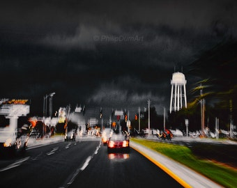 Florida road, USA, carscape, stormy weather, big clouds, blurred, original fine art photography, living room decor, office decor