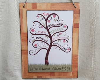 Bible verse art, The fruit of the Spirit, Wood sign, Wall hanging, Galations 5:22-23, Colour print on wood decoupage