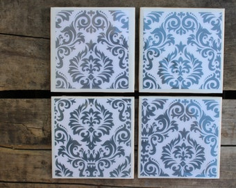 Grey damask coaster set