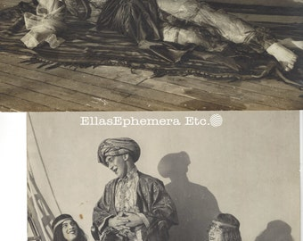 2 original large 8 x 12 photos c1917 WWI Military Boat Male Crew Cross Dressed as Harem Girls, heavy make up great outfits!!