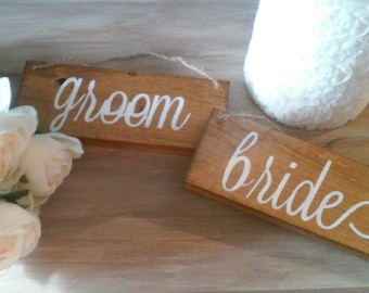 Bride Groom Rustic Wedding Chair Signs Decorations Mrs Mr