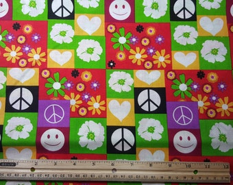 """Peace Signs & Flowers Fabric, END of BOLT (50""""x44""""), Folk Fabric, Hippy Fabric, 1960s Style, Smiley Face, Colorful Fabric"""
