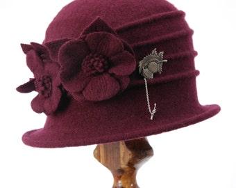 Miss Fisher Maroon Pure Wool Cloche Hat