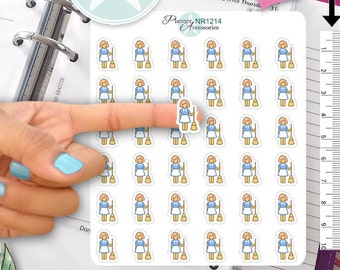 Household Stickers, Charwoman Stickers, Housecleaner Stickers, Cleaning Stickers, Cleaning Woman Stickers NR1214