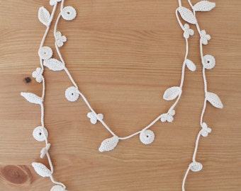 SALE -20% | Delicate Ivory-White Crochet Necklace