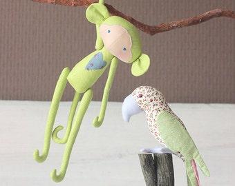 Monkey, tilda style-Handmade kids toy-Soft toy monkey-Home decoration-Children's rooms decoration-light green