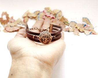 Triple bracelet Copper patina gift Women copper bracelet Umbrella bracelet Copper patina bracelet Triple leather bracelet Jewelry for her