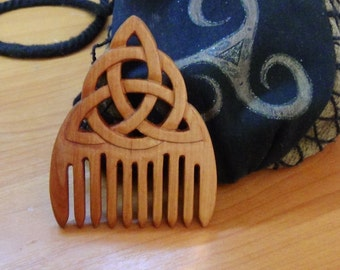 Triquetra wooden comb Witch Witchcraft Wicca Wood comb Celtic style triquetra accessory Witch jewelry Ritual