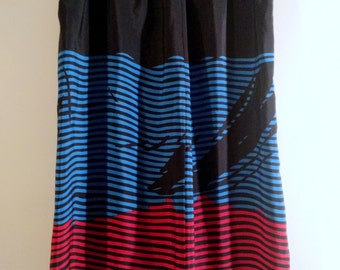 Vintage Mod Silky Striped Skirt with Pockets
