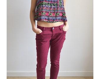 Basic low waist plum jeans