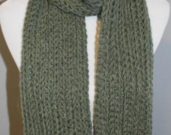 Willow Green Chunky Scarf,  Crochet Chunky Scarf,  Wool Blend Scarf, Green Crochet Scarf