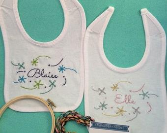 Custom Name Baby Bibs - Baby Bib Embroidery Kit - DIY Embroidery Bib - Baby Shower Gift