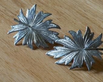 Vintage 1970's Celebrity Silver Leaf Earrings
