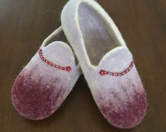 Felted slippers from natural wool
