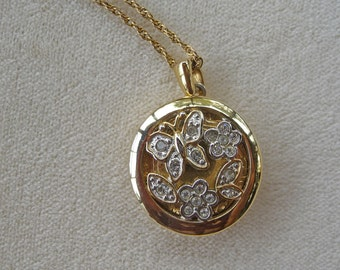 """Locket ..  Sparkling Floral Butterfly Pendant with 18"""" Chain"""