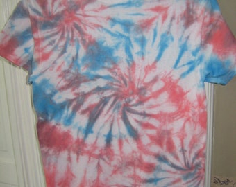 Red, White, and Blue multiple-swirl tie dye shirt~Independence Day/4th of July~Men's S