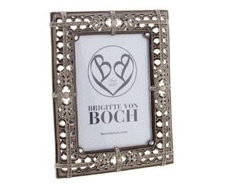 boho picture frame, tin and sparkling rhinestones, enamel work, Ethno Bilderrahmen mit Glitzersteinen und Emaille-Arbeiten
