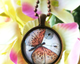 Vintage Inspired Orange Butterfly on Leaves Pendant Necklace