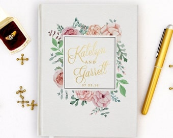 Real Gold Foil Wedding Guest Book Gold foil Guest Books Custom Guestbook Vintage Wedding Script Wedding - white