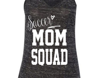 Soccer Mom Squad • Tank Top • Black Marble Flowy V-neck Tank • Sizes S-XL.