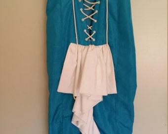 Turquoise blue burlesque style corset dress Sz 10