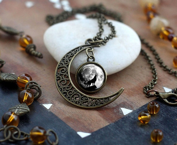 Crescent Moon Howling Wolf Necklace Wolf Necklace Wolf