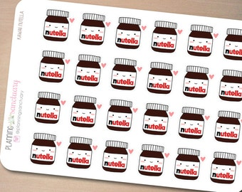 Kawaii Nutella Planner Stickers Perfect for Erin Condren, Kikki K, Filofax and all other Planners