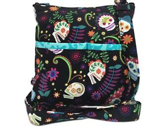 Flower Skulls Crossbody Bag // Sling Bag // Crossbody Purse // Shoulder Bag // Dia de los Muertos // Sugar Skulls